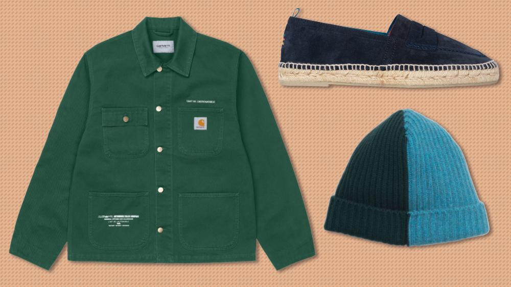 Carharrt jacket, Paul Smith espadrille, Begg & Co. beanie