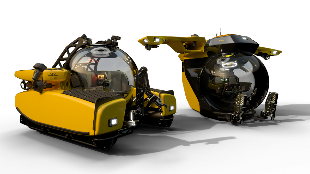 Triton submersible with gull wings
