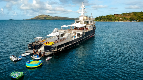 Latitude is a reconverted supply vessel that has a yoga studio