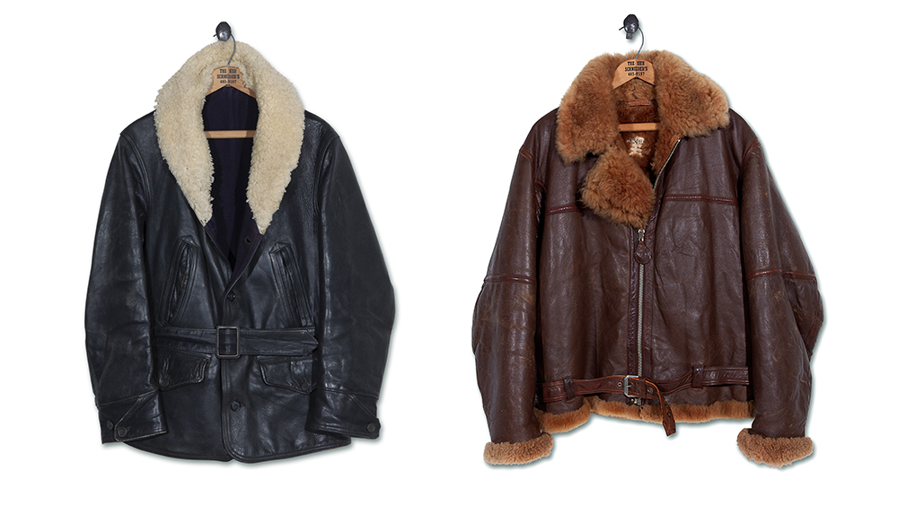 Two of the pedigreed picks from Ralph Lauren's vintage stash: a '40s rancher coat and a WWII flight jacket.