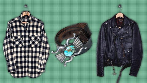 A flannel over-shirt, turquoise belt and motorcycle jacket from Ralph Lauren's vintage offering.