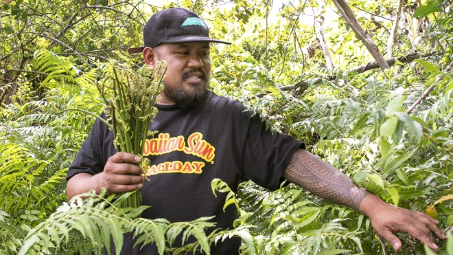 Sheldon Simeon forages in Hilo, Hawaii. Eat Real Hawaii cookbook by Sheldon Simeon. Photo by Kevin J. Miyazaki
