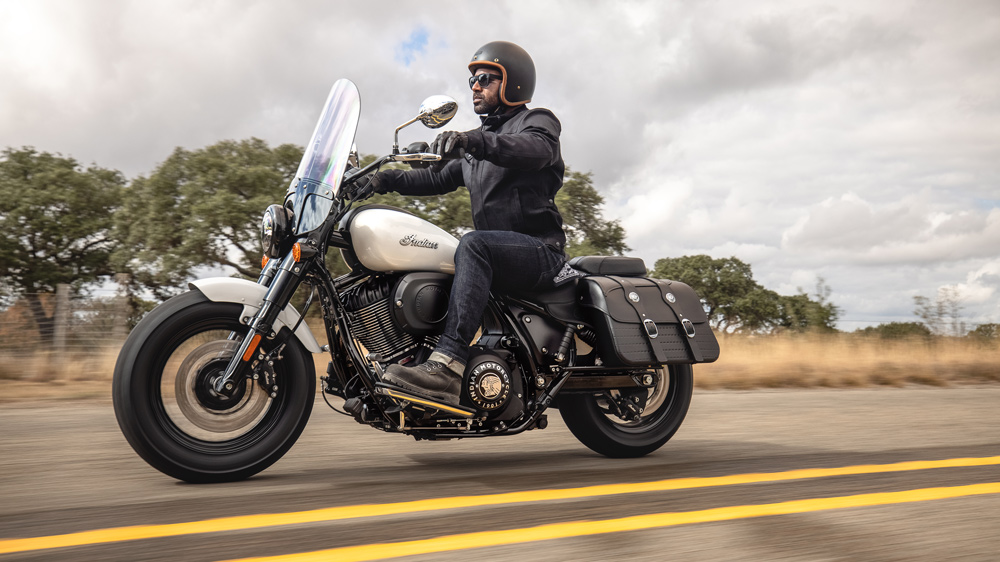 Riding the 2022 Indian Super Chief motorcycle.