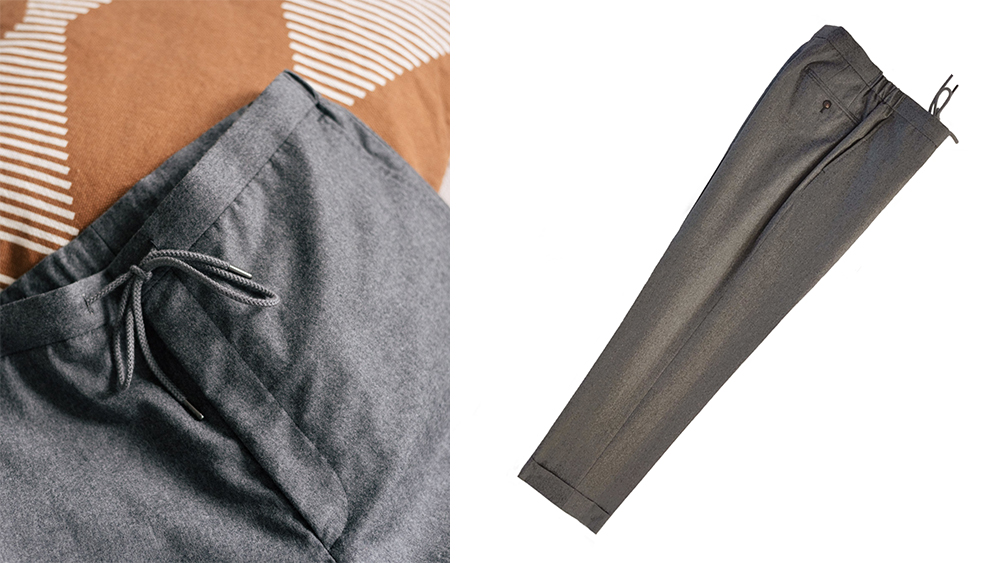 Acre & Row's grey flannel drawstring trousers, £170.