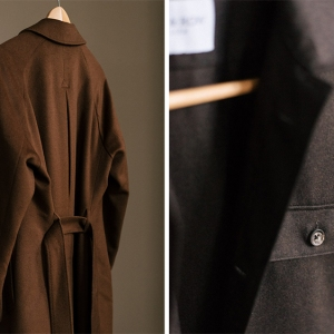 Acre & Row's belted overcoat and flannel over-shirt.
