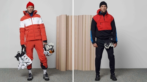 Two looks from Aztech Mountain's fall winter collection.