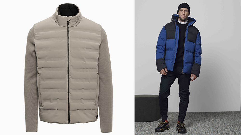 Left, 'Dale of Aspen' sweater jacket ($895). Right, 'Durant' puffer ($950).