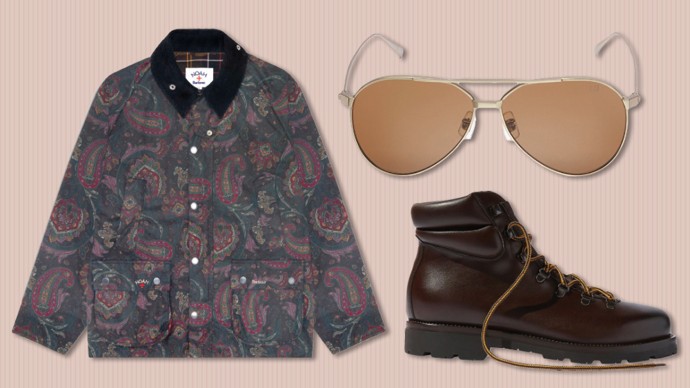 Barbour x Noah jacket, Dunhill Sunglasses, Scarosso boots