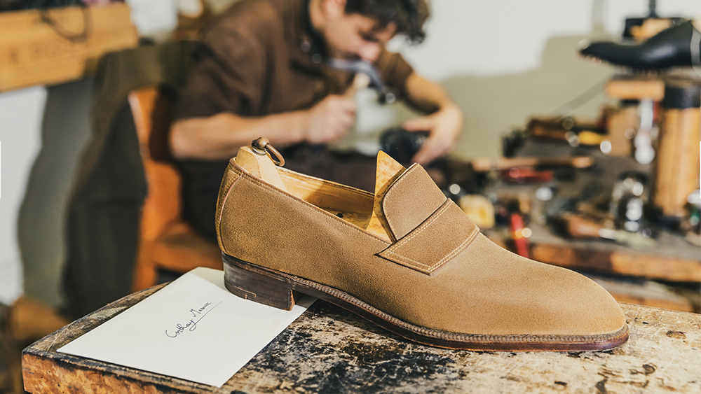 A bespoke loafer at Corthay's Paris atelier.
