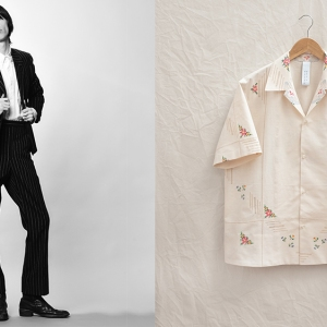 A suit from Brahmann's fall collection; a shirt made from a vintage tablecloth.