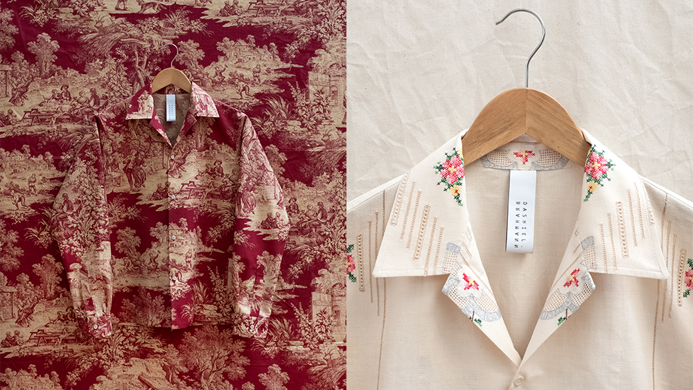 Two shirts made with vintage textiles.