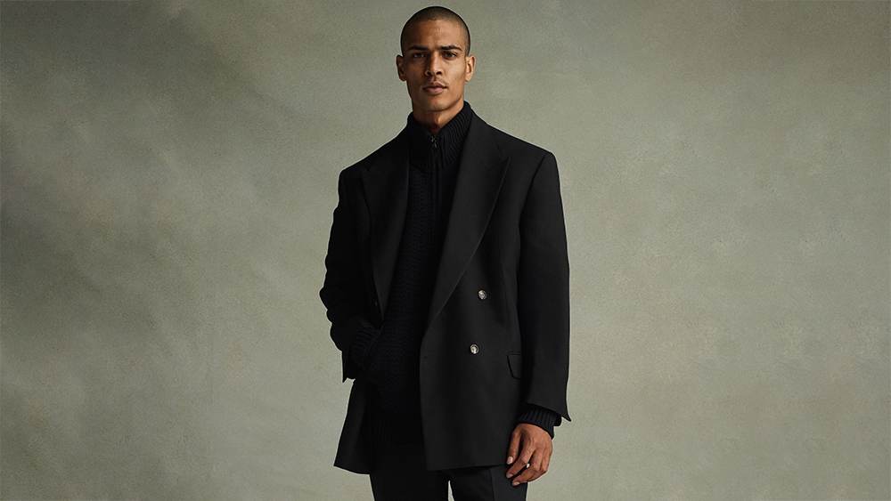 Fear of God viscose blazer, wool zip cardigan and cavalry twill trousers