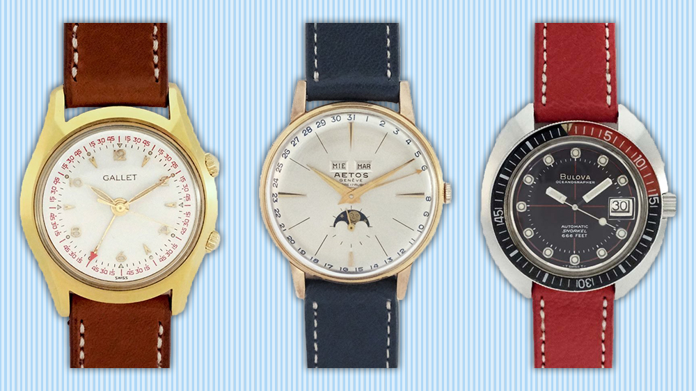 Vintage watches by Galet, Aetos and Bulova.