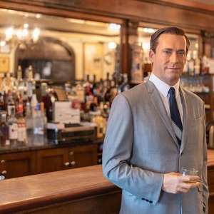 A wax figure of Jon Hamm at Peter Lucker Steakhouse in Brooklyn