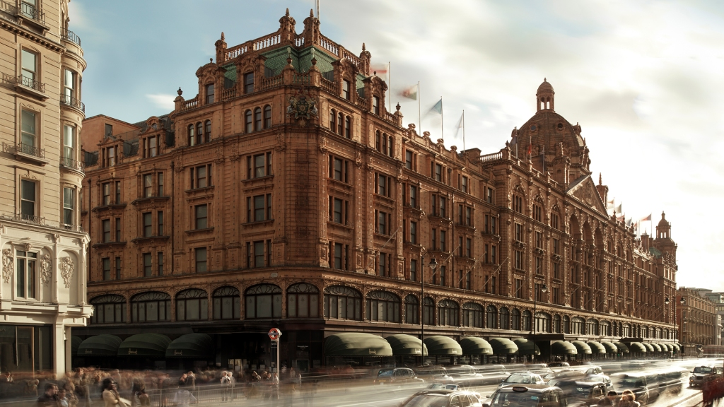 The exterior of London's Harrods department store, which uses Farfetch's Store of the Future OS.