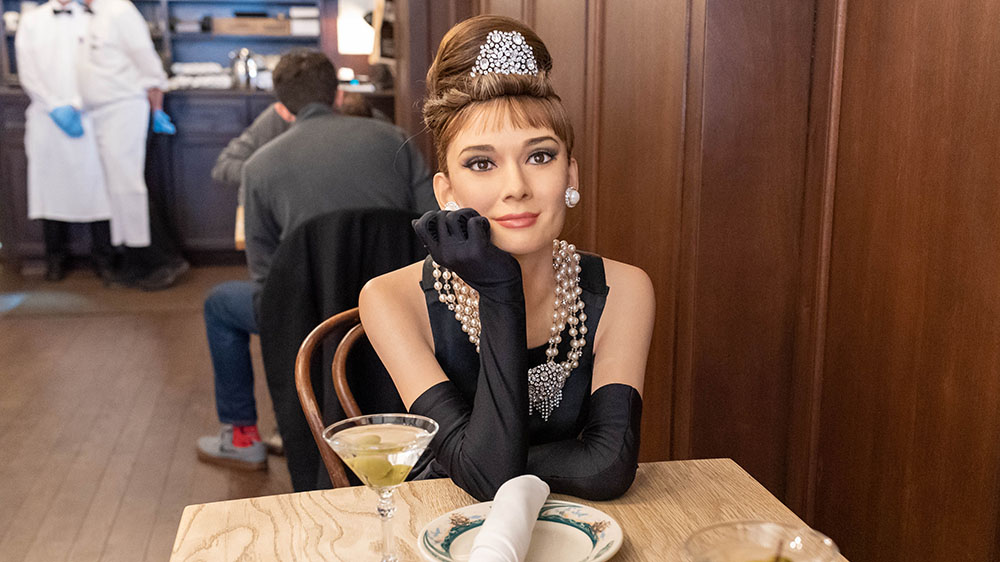 A wax figure of Audrey Hepburn at Peter Lucker Steakhouse in Brooklyn