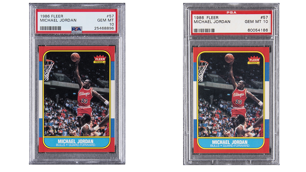 The two record-setting Michael Jordan 1986 Fleer rookie cards