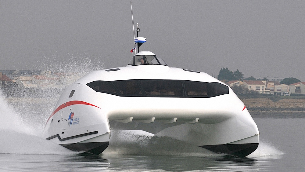 This 35-foot catamaran lifts out of the water and runs on foils at 70 mph
