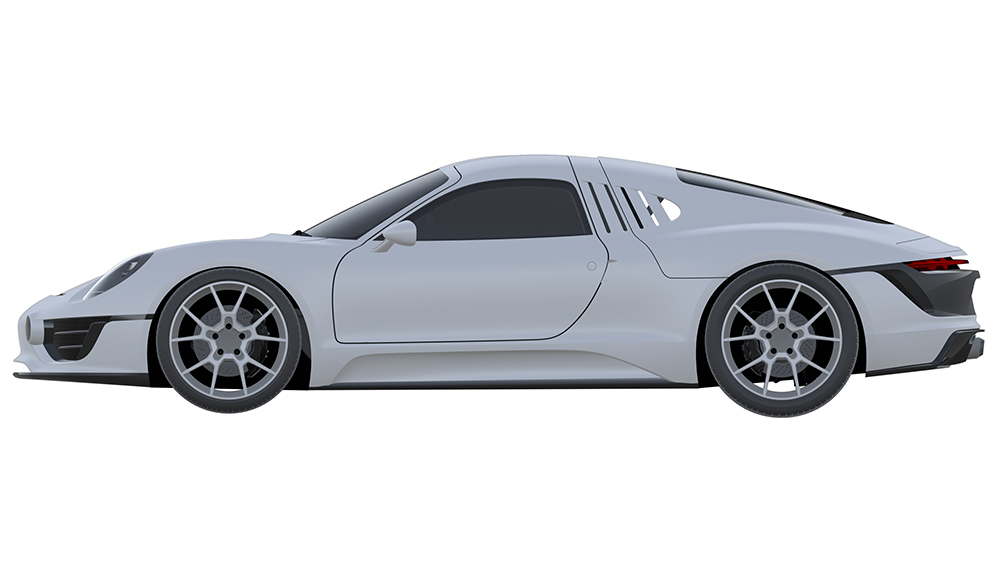 A rendering of a possible new Porsche sports car