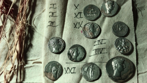 Some of the Roman silver coins discovered by archeologists at Pamukkale University
