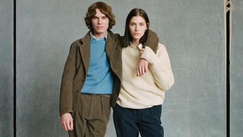 Models wearing Drake's Shetland wool sweaters