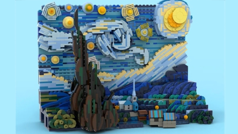 Vincent van Gogh's 'Starry Night' as a Lego set