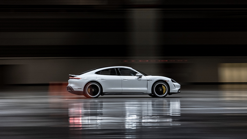 The Porsche Taycan Turbo S Sets the Indoor Land Speed Record After Hitting 102.65 MPH