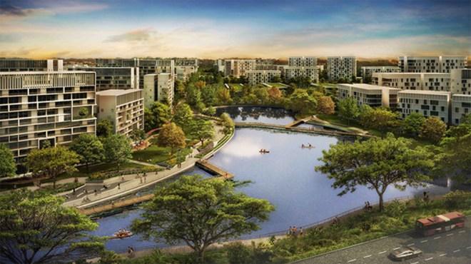 "A rendering of Singapore's upcoming ""smart"" city, Tengah"