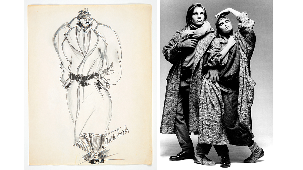 a 1984 sketch for WilliWear; models wear looks from that same collection, photographed by Max Vadukul.