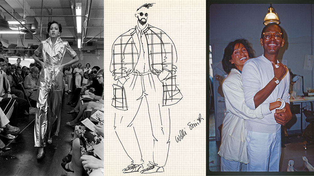 Model Pat Cleveland walking a fall 1973 presentation; a menswear sketch for WilliWear's spring 1985 collection; Smith and friend, photographed by Rosemary Peck.