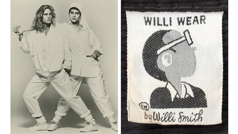 Models in a 1984 publicity photograph by Max Vadukul; a 1982 WilliWear label.