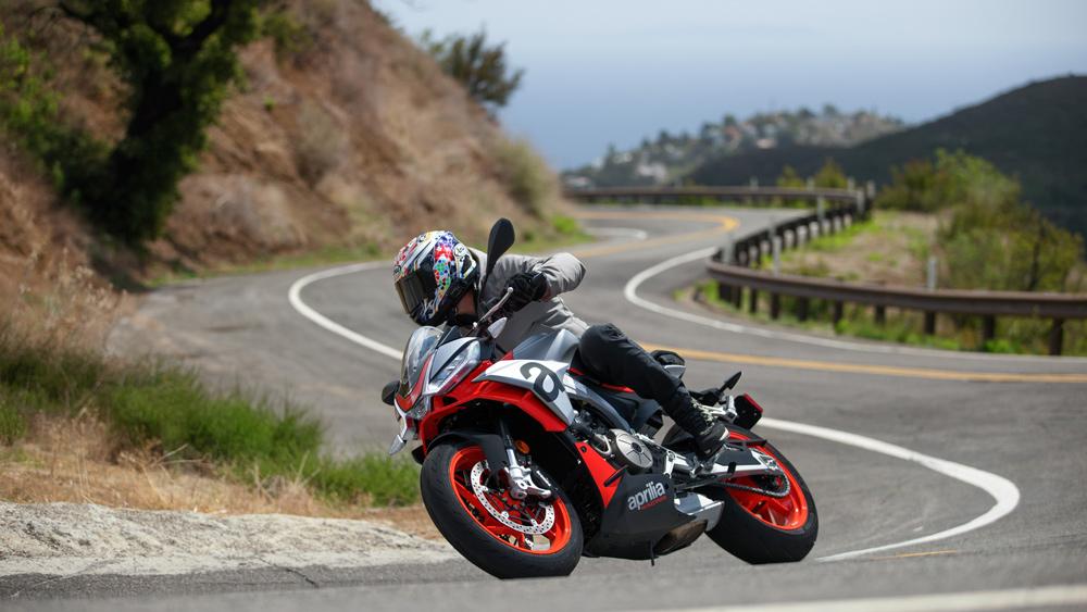 Riding an Aprilia Tuono 660 motorcycle in the canyons of Malibu, Calif.