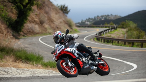 Riding an Aprilia Tuono 660 motorcycle in the canyons of Malibu, Calif.