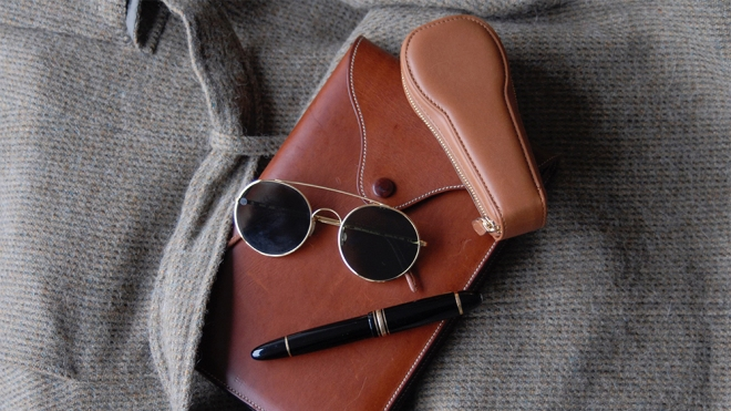 Artisanal sunglasses and leather-goods from Maker & Company.