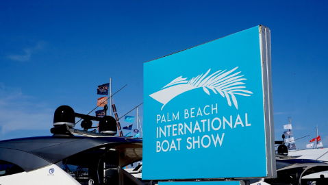 The Palm Beach International Boat Show opening day good crowds and beautiful weather and many maskless attendees