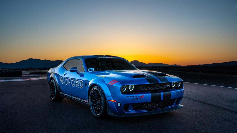 The 840 hp Dodge Challenger SRT Demon is used in Radford Racing School's drag racing course.