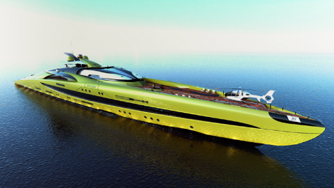 This concept superyacht has a green exterior and also greenhouse interior