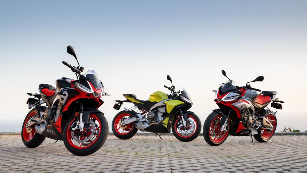 Three Aprilia Tuono 660 motorcycles at a residence in Malibu, Calif.