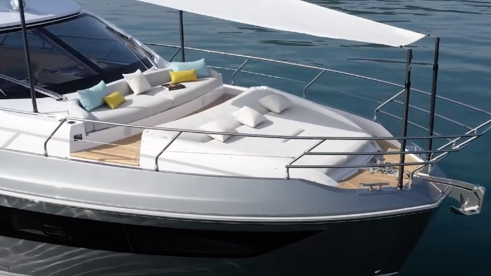 Azimut's new 53 was launched today with a special flybridge and bow area