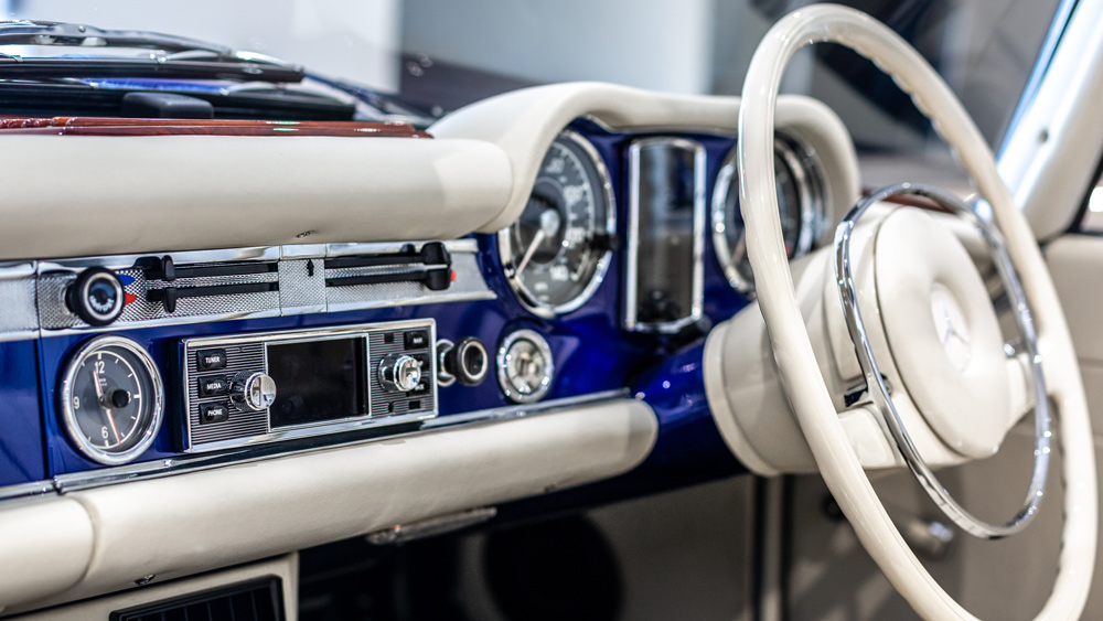 "The interior dash of an electric Mercedes-Benz 280SL ""Pagoda"" restomod from Hemmels."