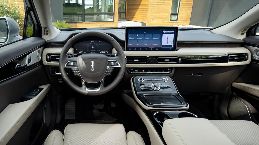 Inside the 2021 Lincoln Nautilus Black Label midsize SUV.
