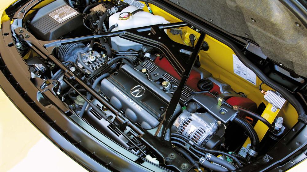The all-aluminum DOHC V-6 engine inside a 2005 Acura NSX.