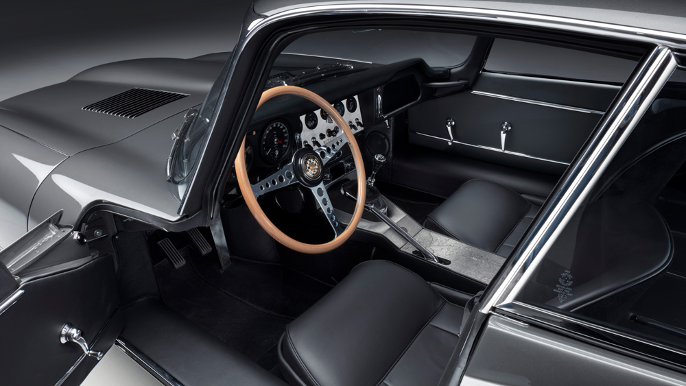 A look inside the cockpit of the Jaguar E-type 60 Collection's coupe.