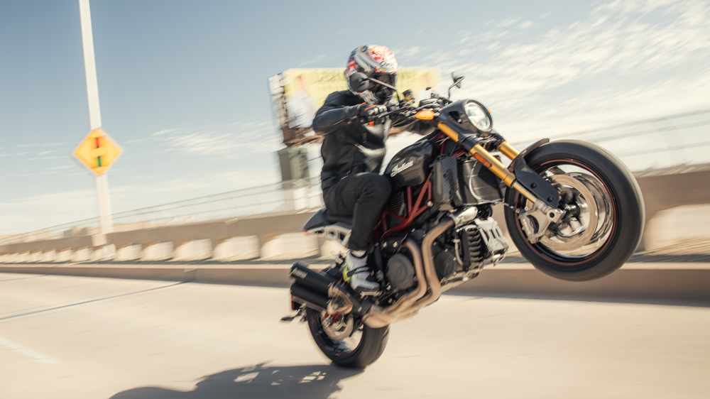 Riding the 2022 Indian FTR R Carbon motorcycle.