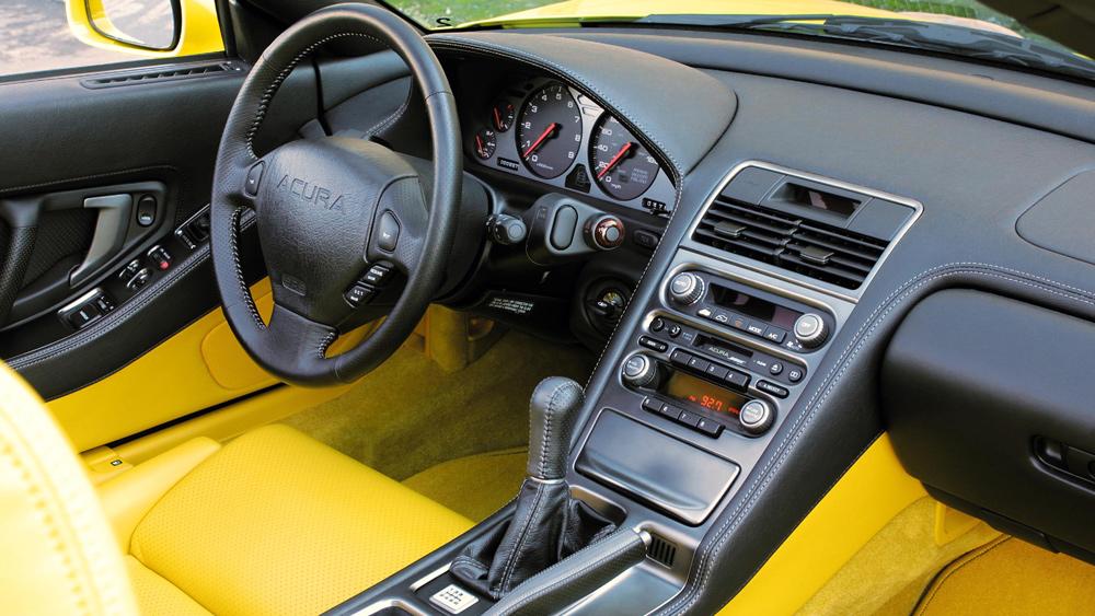 Inside a 2005 Acura NSX sports car.
