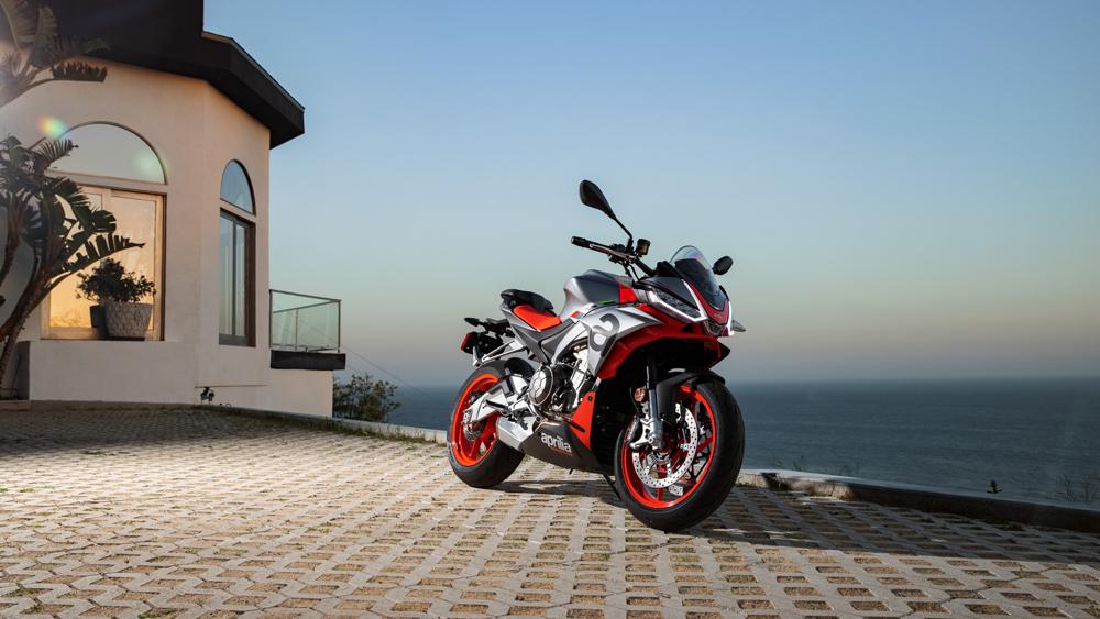 An Aprilia Tuono 660 motorcycle at a residence in Malibu, Calif.