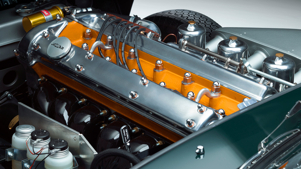The 3.8-liter inline-six engine inside each car in the Jaguar E-type 60 Collection.