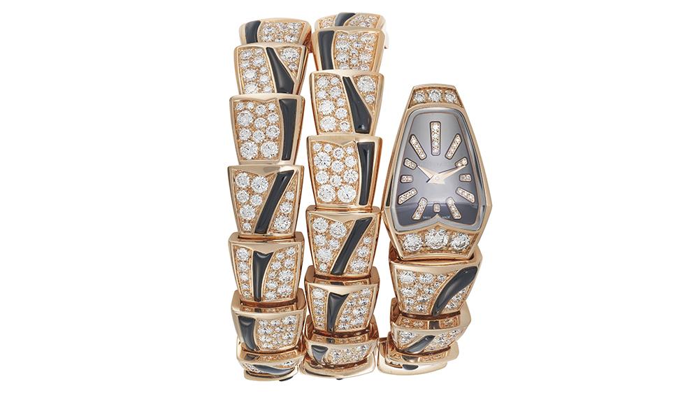 Bvlgari Diamond and Onyx 'Serpenti' Wristwatch