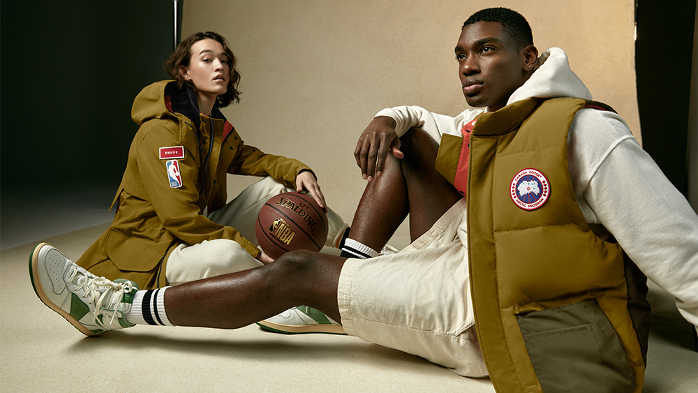 Models in the 'Portage' coat ($750) and 'Freestyle' vest ($595) from the Canada Goose & NBA collection with Rhude.