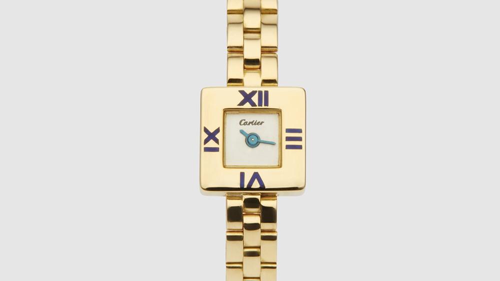 Harry Fane Cartier Lady's Blue Enamel and Gold Bracelet Wristwatch